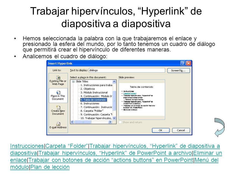 Trabajar hipervínculos, Hyperlink de diapositiva a diapositiva Hemos seleccionada la palabra con la que trabajaremos el enlace y presionado la esfera