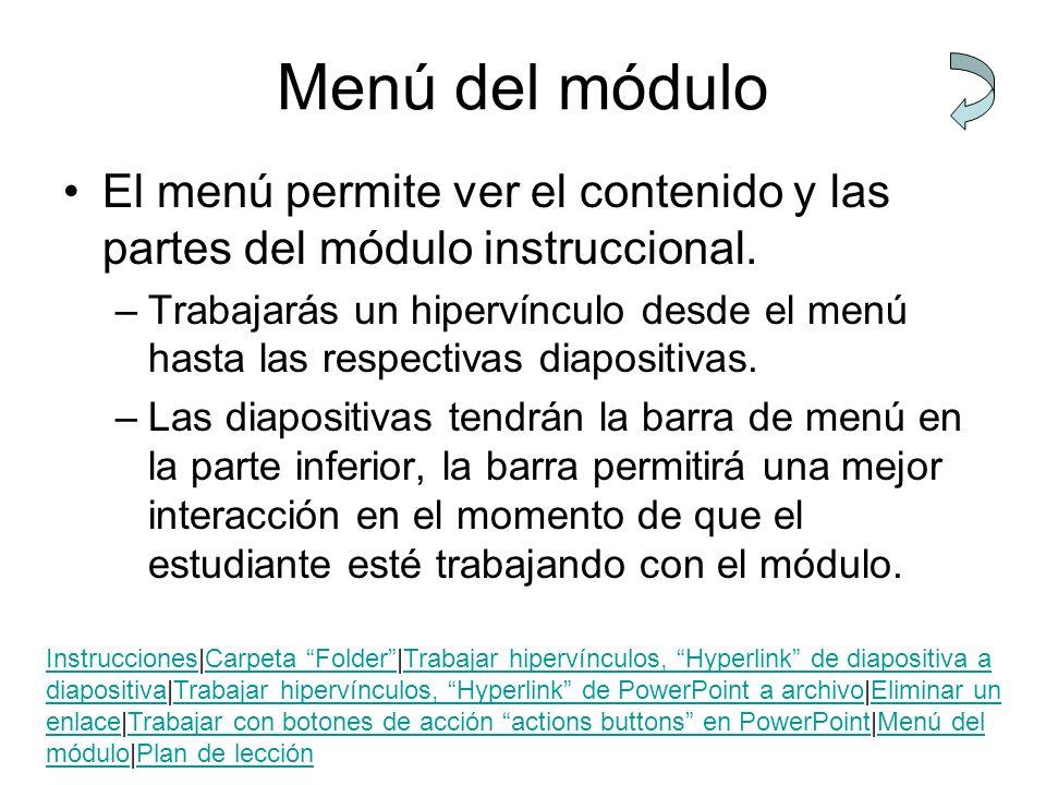 Menú del módulo El menú permite ver el contenido y las partes del módulo instruccional. –Trabajarás un hipervínculo desde el menú hasta las respectiva