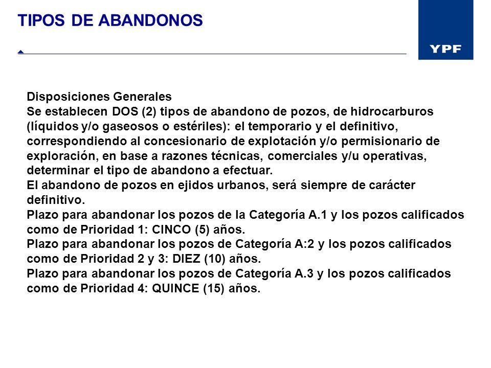 TIPOS DE ABANDONOS Disposiciones Generales Se establecen DOS (2) tipos de abandono de pozos, de hidrocarburos (líquidos y/o gaseosos o estériles): el