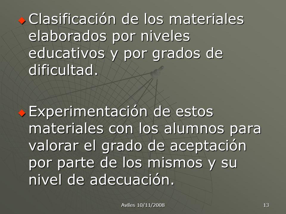 Aviles 10/11/2008 13 Clasificación de los materiales elaborados por niveles educativos y por grados de dificultad. Experimentación de estos materiales