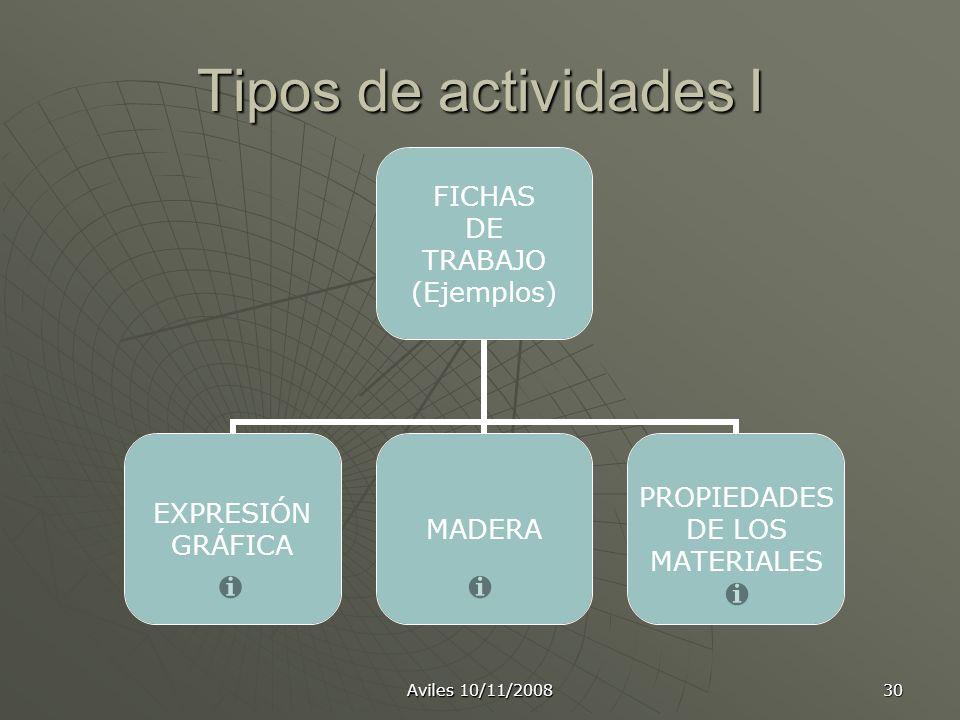 Aviles 10/11/2008 30 Tipos de actividades I FICHAS DE TRABAJO (Ejemplos) EXPRESIÓN GRÁFICA MADERA PROPIEDADES DE LOS MATERIALES