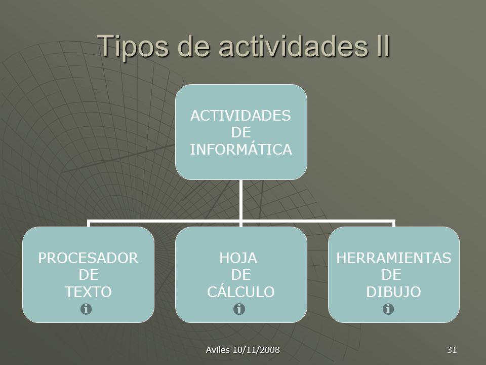 Aviles 10/11/2008 31 Tipos de actividades II ACTIVIDADES DE INFORMÁTICA PROCESADOR DE TEXTO HOJA DE CÁLCULO HERRAMIENTAS DE DIBUJO