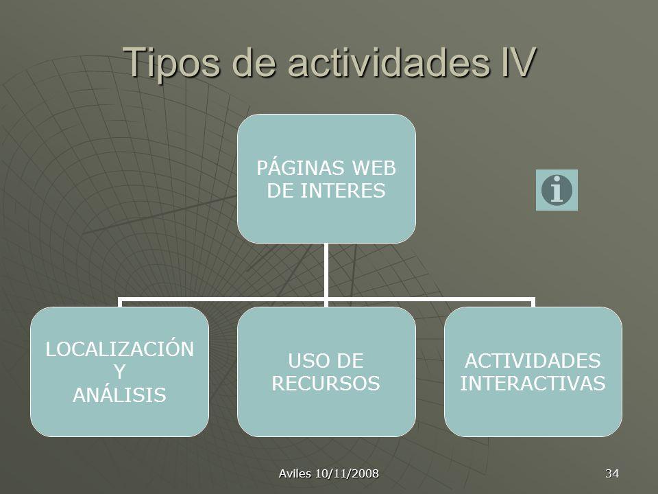 Aviles 10/11/2008 34 Tipos de actividades IV PÁGINAS WEB DE INTERES LOCALIZACIÓN Y ANÁLISIS USO DE RECURSOS ACTIVIDADES INTERACTIVAS