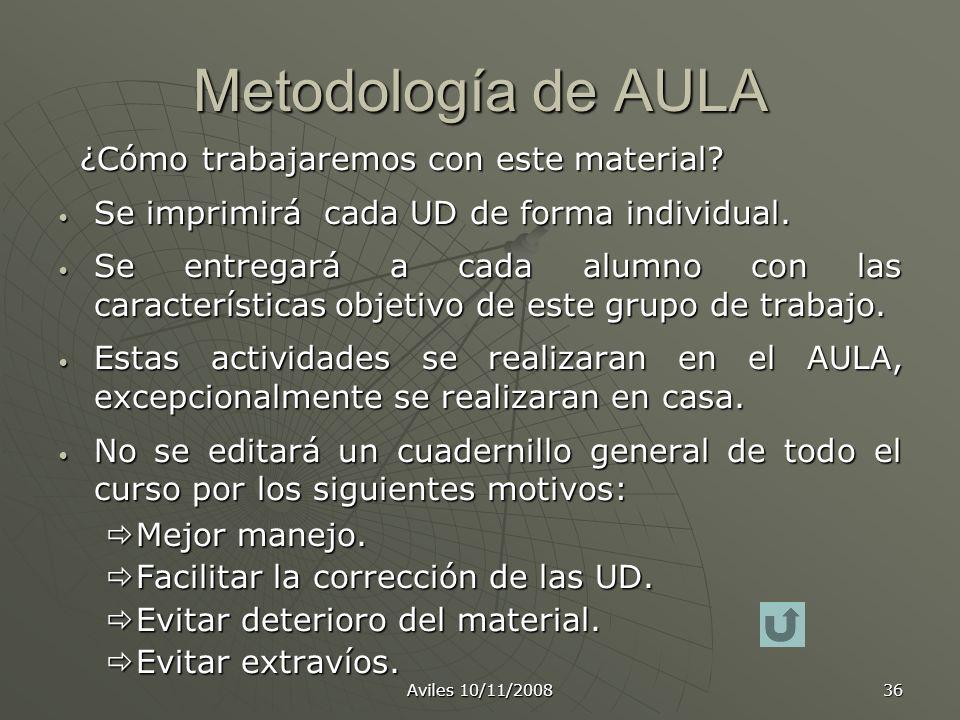 Aviles 10/11/2008 36 Metodología de AULA ¿Cómo trabajaremos con este material? ¿Cómo trabajaremos con este material? Se imprimirá cada UD de forma ind