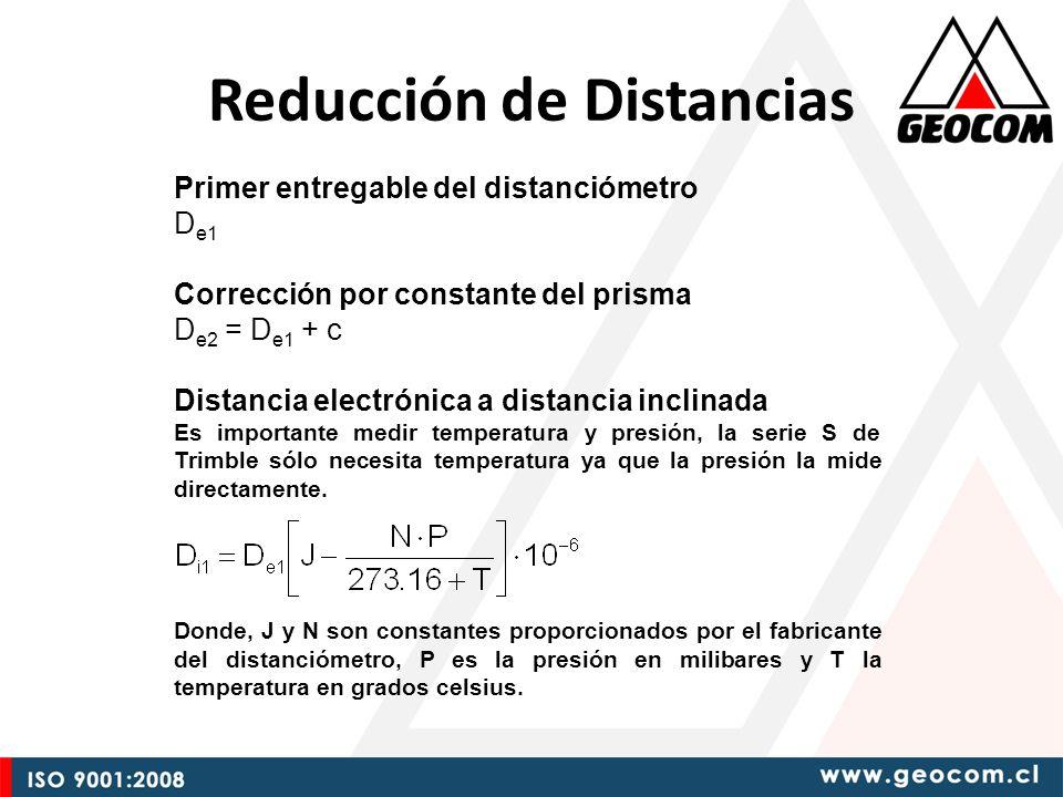 Reducción de Distancias Primer entregable del distanciómetro D e1 Corrección por constante del prisma D e2 = D e1 + c Distancia electrónica a distancia inclinada Es importante medir temperatura y presión, la serie S de Trimble sólo necesita temperatura ya que la presión la mide directamente.