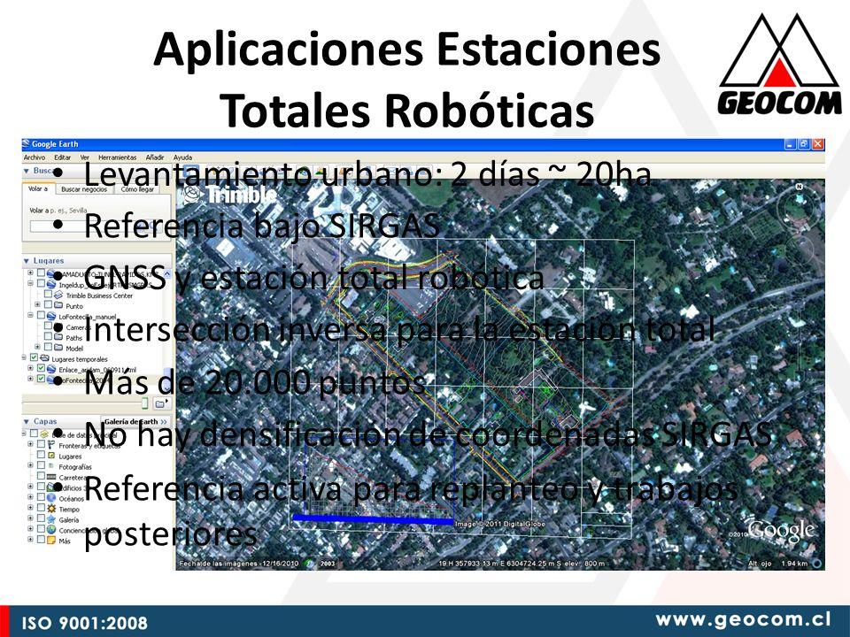 Levantamiento urbano: 2 días ~ 20ha GNSS y estación total robótica Más de 20.000 puntos No hay densificación de coordenadas SIRGAS Referencia activa para replanteo y trabajos posteriores Intersección inversa para la estación total Referencia bajo SIRGAS Aplicaciones Estaciones Totales Robóticas