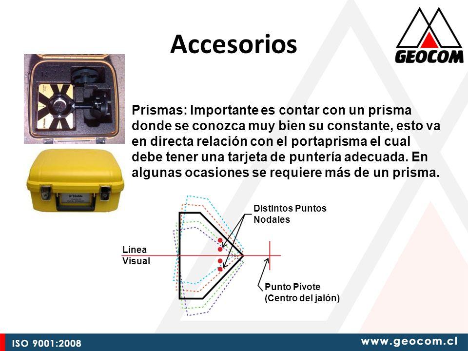Accesorios Prismas: Importante es contar con un prisma donde se conozca muy bien su constante, esto va en directa relación con el portaprisma el cual debe tener una tarjeta de puntería adecuada.