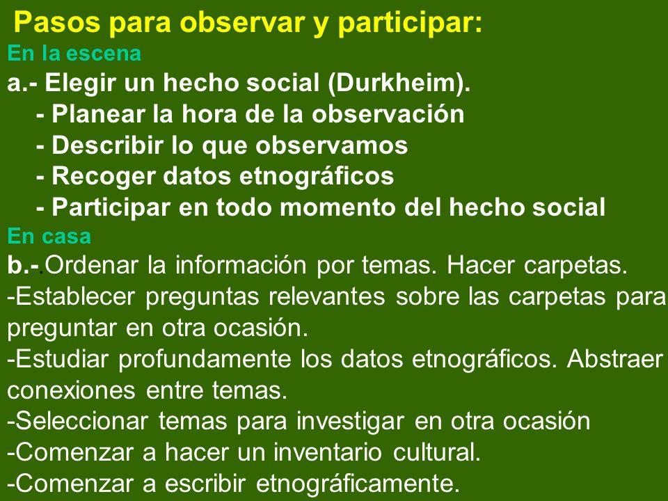 Pasos para observar y participar: En la escena a.- Elegir un hecho social (Durkheim).