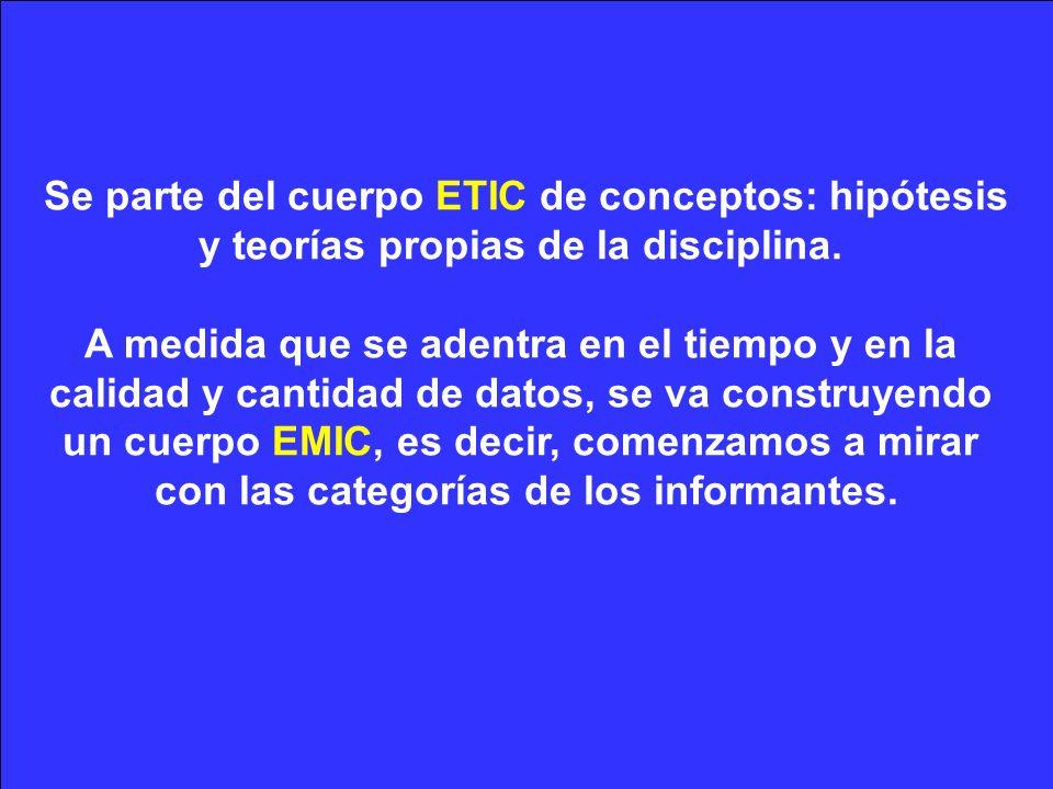 Se parte del cuerpo ETIC de conceptos: hipótesis y teorías propias de la disciplina.