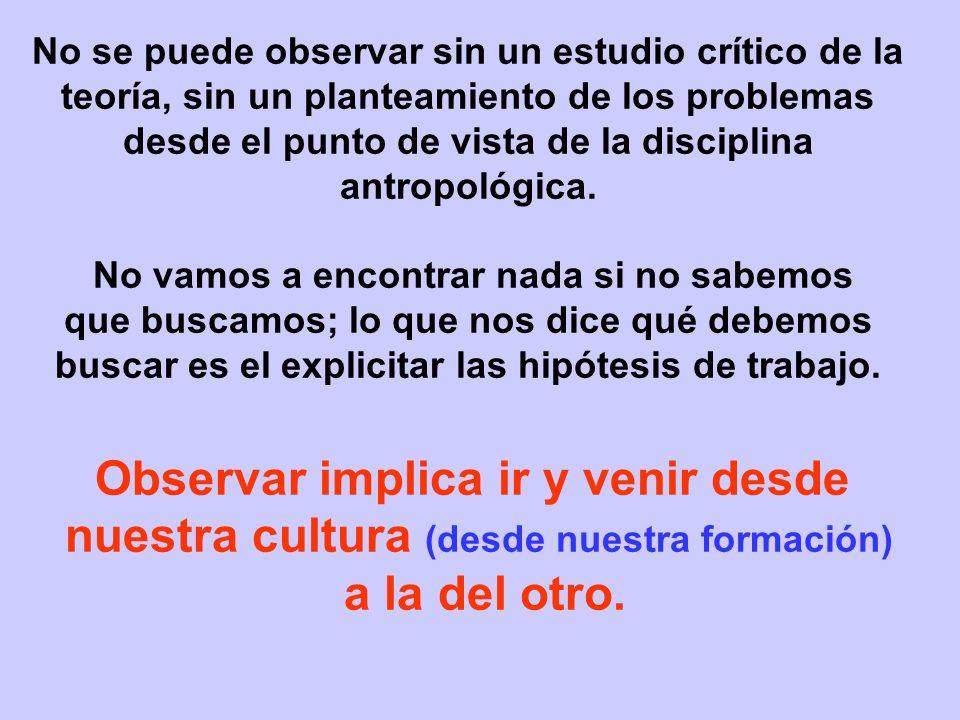 No se puede observar sin un estudio crítico de la teoría, sin un planteamiento de los problemas desde el punto de vista de la disciplina antropológica.