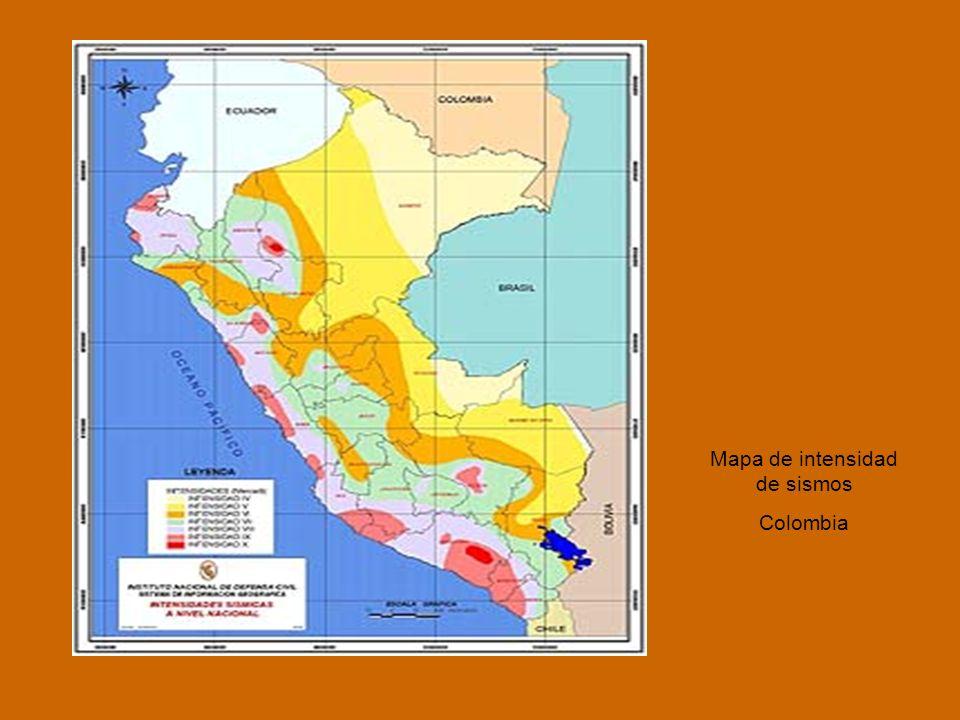 Mapa de intensidad de sismos Colombia