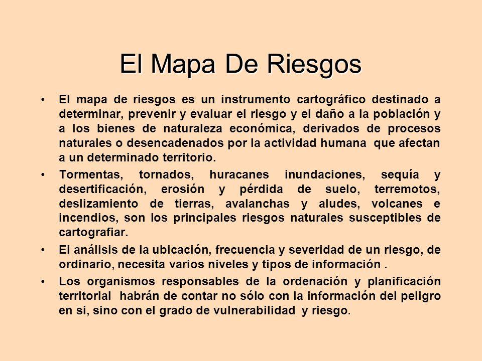 El Mapa De Riesgos El mapa de riesgos es un instrumento cartográfico destinado a determinar, prevenir y evaluar el riesgo y el daño a la población y a los bienes de naturaleza económica, derivados de procesos naturales o desencadenados por la actividad humana que afectan a un determinado territorio.