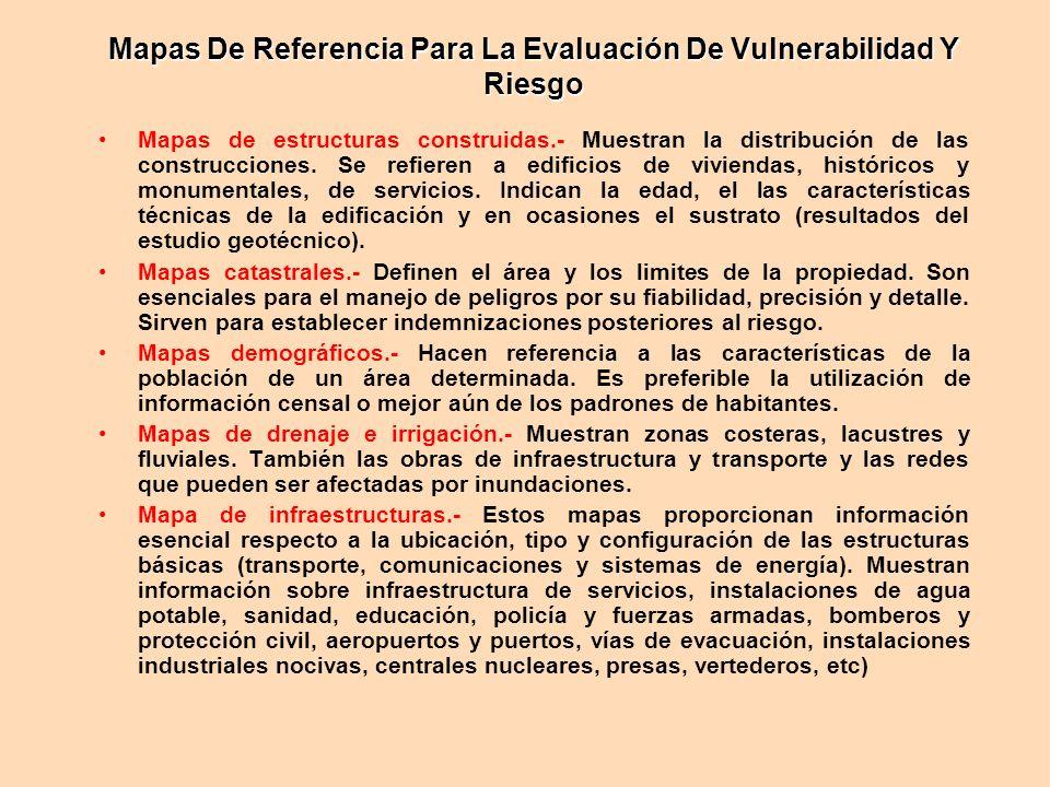 Mapas De Referencia Para La Evaluación De Vulnerabilidad Y Riesgo Mapas de estructuras construidas.- Muestran la distribución de las construcciones. S