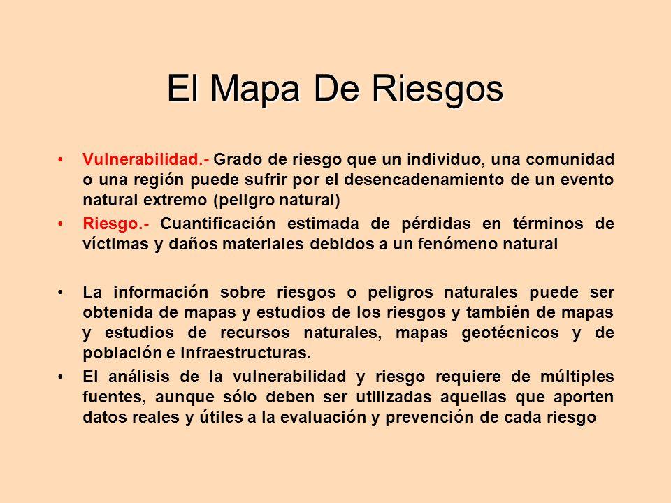 El Mapa De Riesgos Vulnerabilidad.- Grado de riesgo que un individuo, una comunidad o una región puede sufrir por el desencadenamiento de un evento na