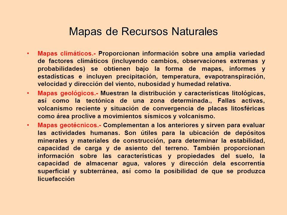 Mapas de Recursos Naturales Mapas climáticos.- Proporcionan información sobre una amplia variedad de factores climáticos (incluyendo cambios, observaciones extremas y probabilidades) se obtienen bajo la forma de mapas, informes y estadísticas e incluyen precipitación, temperatura, evapotranspiración, velocidad y dirección del viento, nubosidad y humedad relativa.