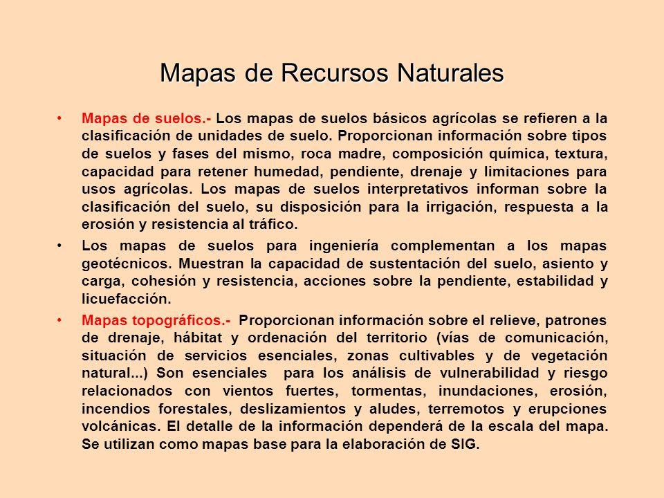 Mapas de Recursos Naturales Mapas de suelos.- Los mapas de suelos básicos agrícolas se refieren a la clasificación de unidades de suelo. Proporcionan