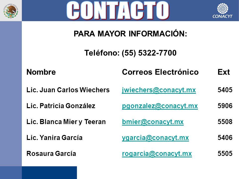 PARA MAYOR INFORMACIÓN: Teléfono: (55) 5322-7700 NombreCorreos ElectrónicoExt Lic.