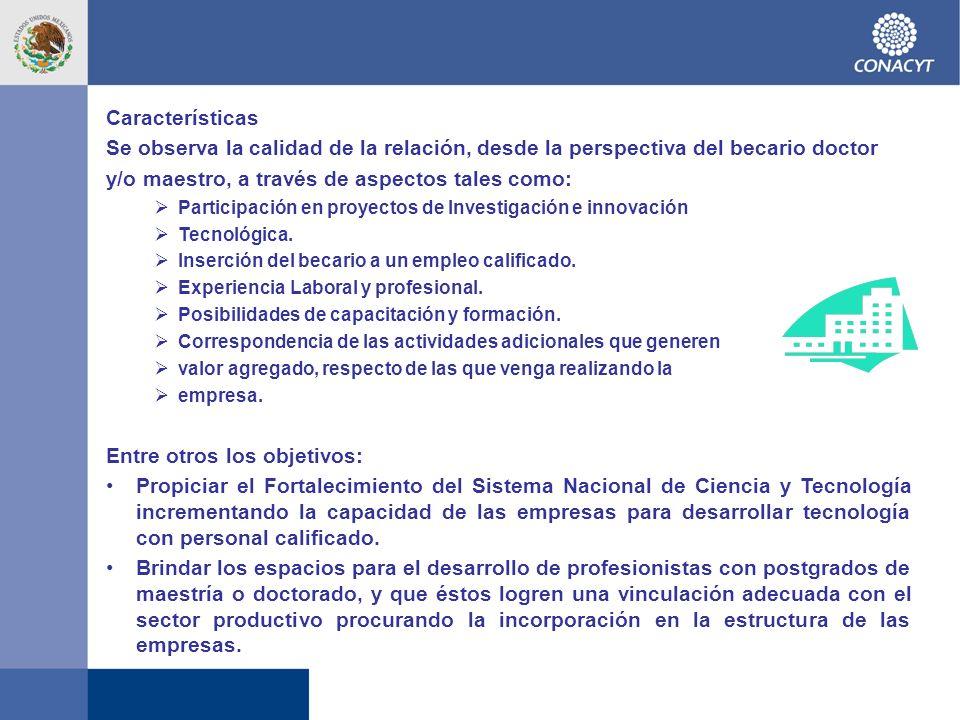 Características Se observa la calidad de la relación, desde la perspectiva del becario doctor y/o maestro, a través de aspectos tales como: Participación en proyectos de Investigación e innovación Tecnológica.