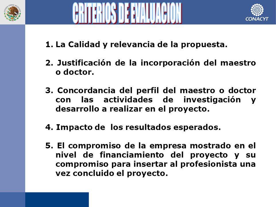 1.La Calidad y relevancia de la propuesta. 2.