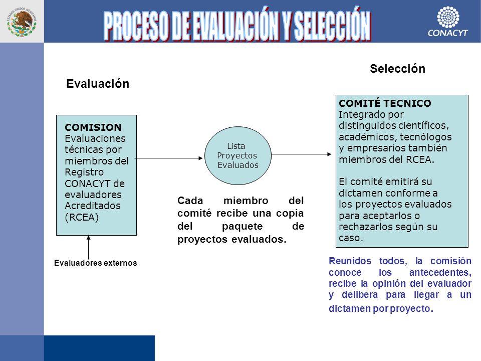 COMISION Evaluaciones técnicas por miembros del Registro CONACYT de evaluadores Acreditados (RCEA) Evaluadores externos Evaluación Lista Proyectos Evaluados COMITÉ TECNICO Integrado por distinguidos científicos, académicos, tecnólogos y empresarios también miembros del RCEA.