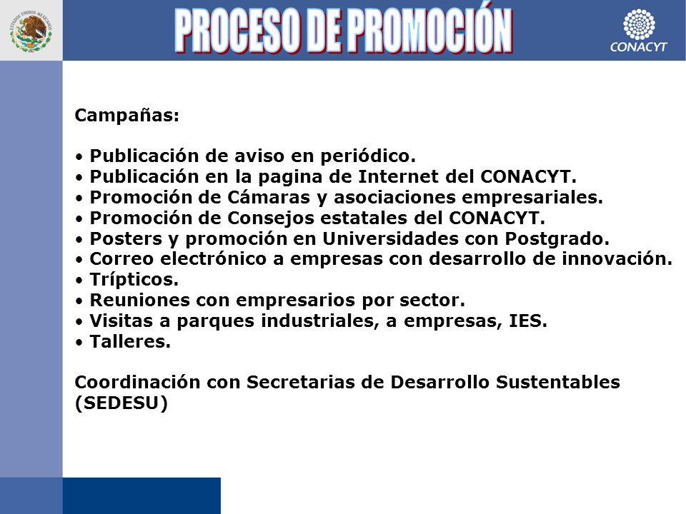 Campañas: Publicación de aviso en periódico. Publicación en la pagina de Internet del CONACYT.