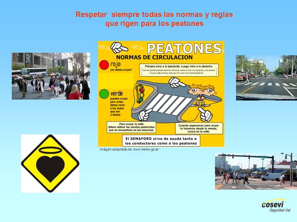 Respetar siempre todas las normas y reglas que rigen para los peatones Imágen adaptada de: www.trelew.go.ar