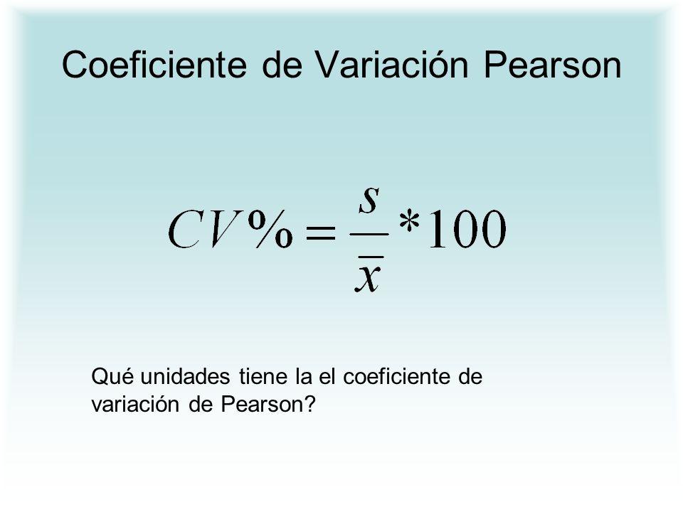 Coeficiente de Variación Pearson Qué unidades tiene la el coeficiente de variación de Pearson?