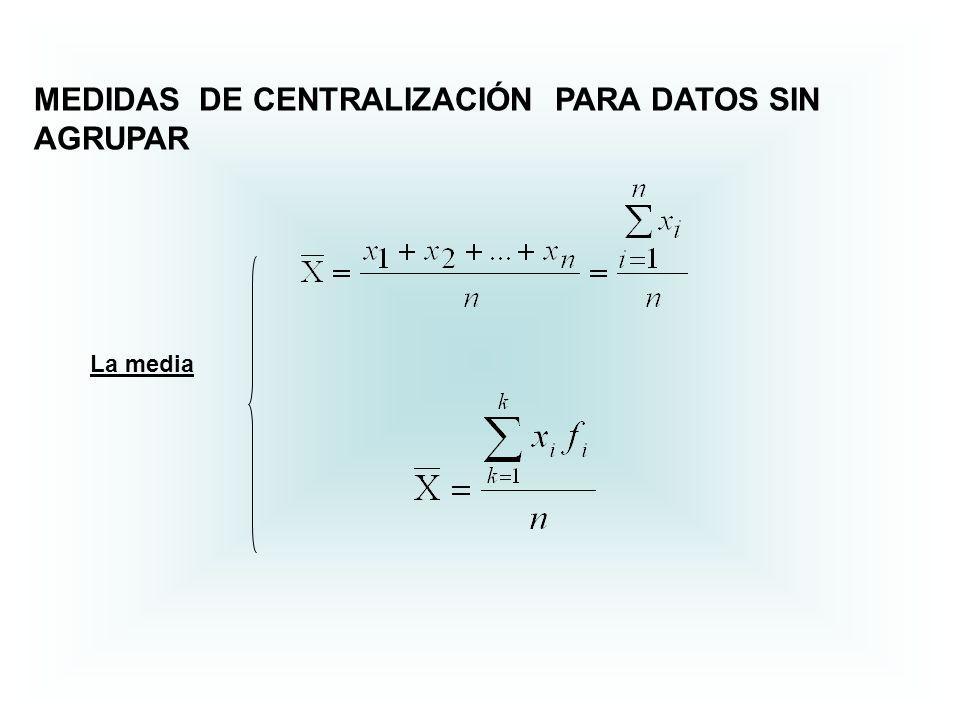 MEDIDAS DE CENTRALIZACIÓN PARA DATOS SIN AGRUPAR La media