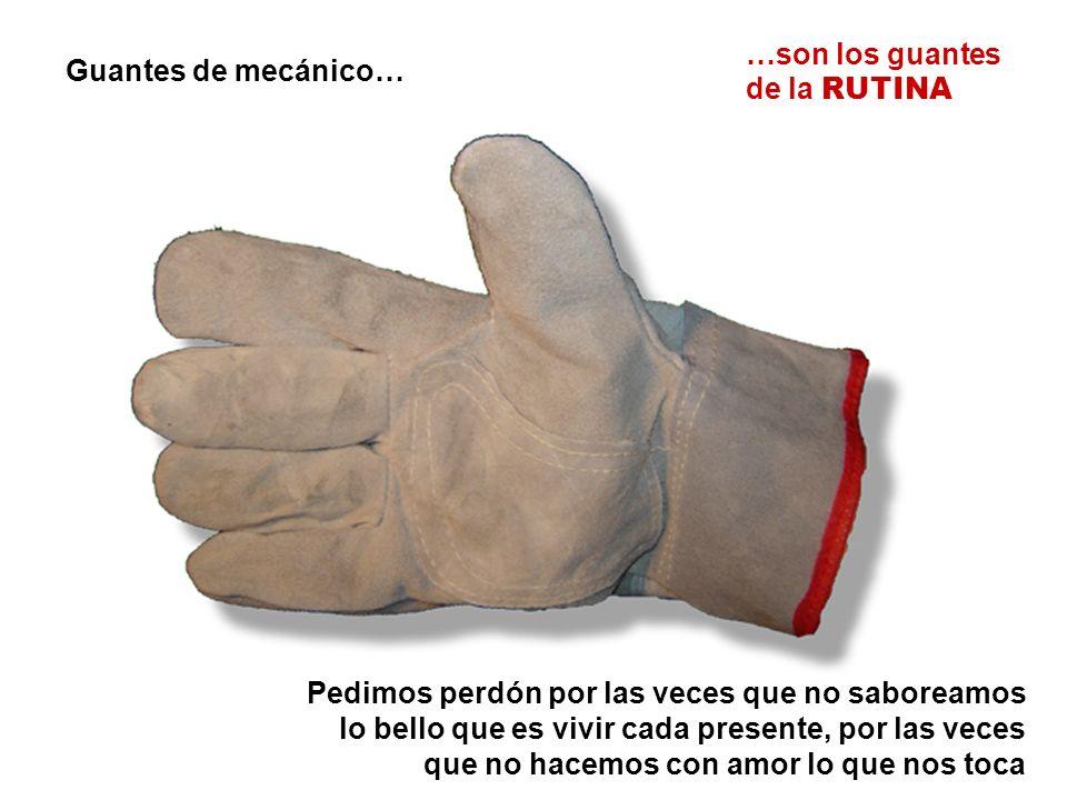 Guantes de mecánico… …son los guantes de la RUTINA Pedimos perdón por las veces que no saboreamos lo bello que es vivir cada presente, por las veces que no hacemos con amor lo que nos toca