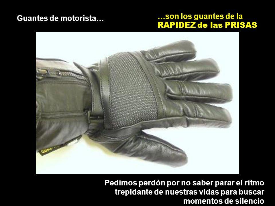 Guantes de motorista… …son los guantes de la RAPIDEZ de las PRISAS Pedimos perdón por no saber parar el ritmo trepidante de nuestras vidas para buscar momentos de silencio