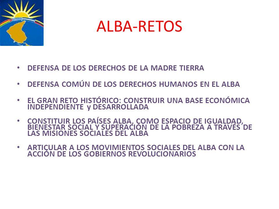 ALBA-RETOS DEFENSA DE LOS DERECHOS DE LA MADRE TIERRA DEFENSA COMÚN DE LOS DERECHOS HUMANOS EN EL ALBA EL GRAN RETO HISTÓRICO: CONSTRUIR UNA BASE ECON