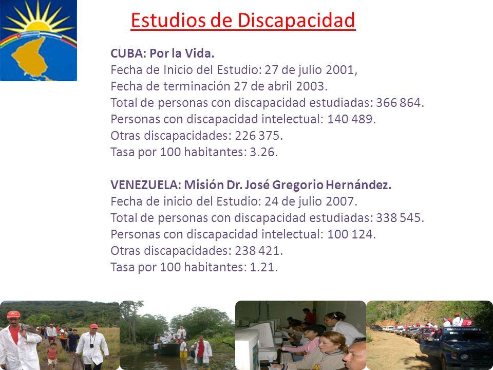 Estudios de Discapacidad CUBA: Por la Vida. Fecha de Inicio del Estudio: 27 de julio 2001, Fecha de terminación 27 de abril 2003. Total de personas co