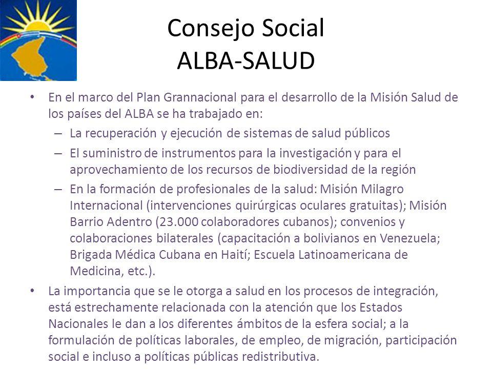 Consejo Social ALBA-SALUD En el marco del Plan Grannacional para el desarrollo de la Misión Salud de los países del ALBA se ha trabajado en: – La recu