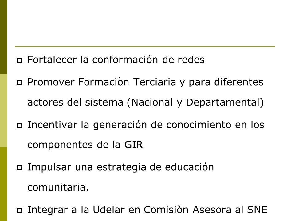 PROYECTO DE FORTALECIMIENTO DE LAS CAPACIDADES DEL SNE Relevar experiencias de educación, capacitación, sensibilización en los componentes de la GIR.