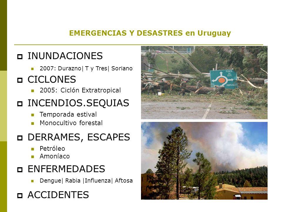 EMERGENCIAS Y DESASTRES en Uruguay En Uruguay, la ocurrencia de eventos en los últimos años han tomado el carácter de emergencia o desastre en diferentes localidades, superando en muchos casos las capacidades locales para su abordaje.