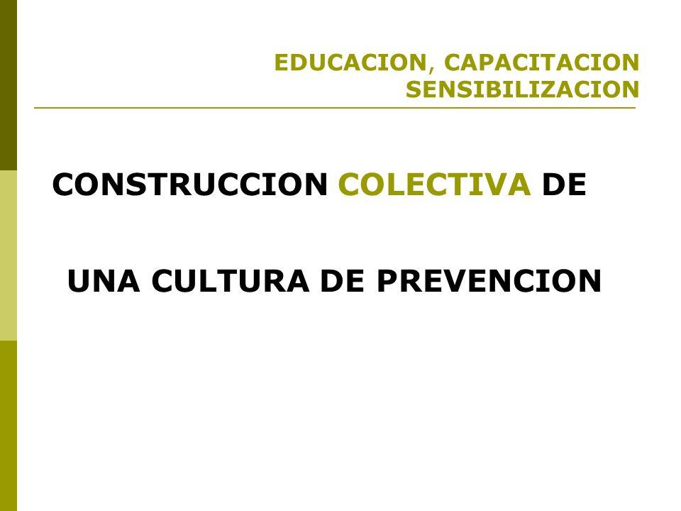 EDUCACION, CAPACITACION SENSIBILIZACION Para fortalecer a la sociedad para prepararse para la reducción de riesgos.
