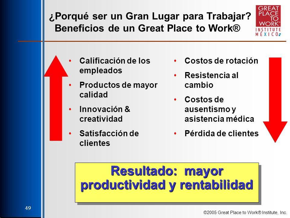 ©2005 Great Place to Work® Institute, Inc. 49 ¿Porqué ser un Gran Lugar para Trabajar.