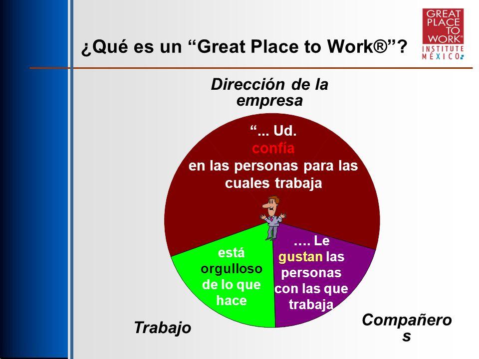 ¿Qué es un Great Place to Work® ... Ud. confía en las personas para las cuales trabaja ….