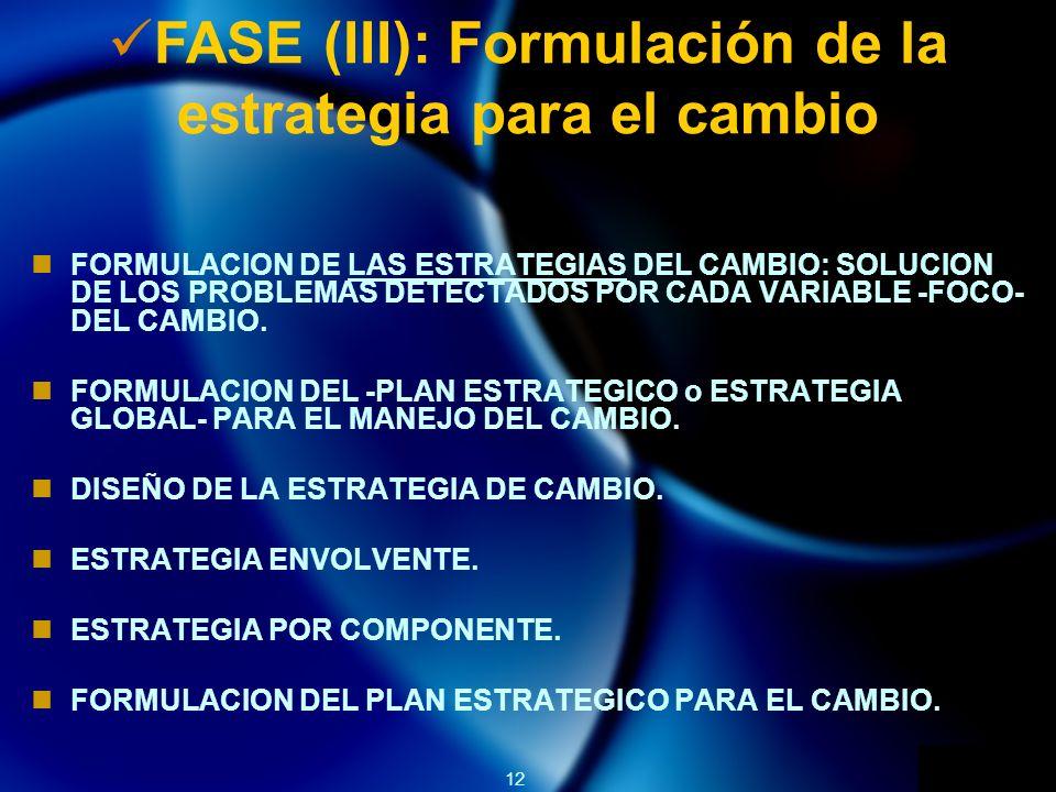 12 FASE (III): Formulación de la estrategia para el cambio FORMULACION DE LAS ESTRATEGIAS DEL CAMBIO: SOLUCION DE LOS PROBLEMAS DETECTADOS POR CADA VARIABLE -FOCO- DEL CAMBIO.