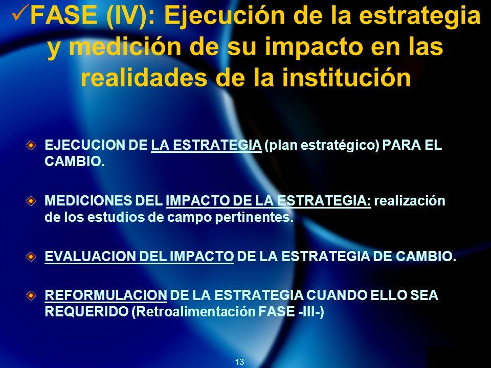 13 FASE (IV): Ejecución de la estrategia y medición de su impacto en las realidades de la institución EJECUCION DE LA ESTRATEGIA (plan estratégico) PARA EL CAMBIO.