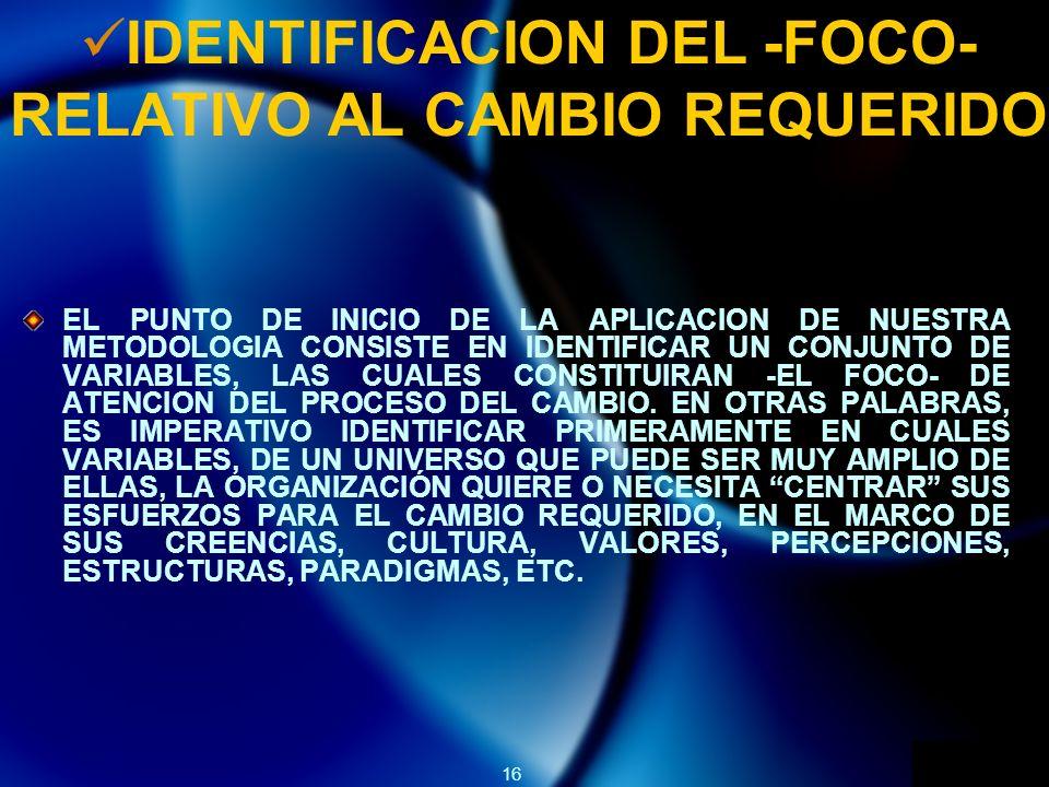 16 IDENTIFICACION DEL -FOCO- RELATIVO AL CAMBIO REQUERIDO EL PUNTO DE INICIO DE LA APLICACION DE NUESTRA METODOLOGIA CONSISTE EN IDENTIFICAR UN CONJUNTO DE VARIABLES, LAS CUALES CONSTITUIRAN -EL FOCO- DE ATENCION DEL PROCESO DEL CAMBIO.