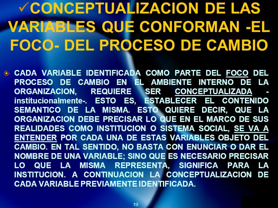 19 CONCEPTUALIZACION DE LAS VARIABLES QUE CONFORMAN -EL FOCO- DEL PROCESO DE CAMBIO CADA VARIABLE IDENTIFICADA COMO PARTE DEL FOCO DEL PROCESO DE CAMBIO EN EL AMBIENTE INTERNO DE LA ORGANIZACION, REQUIERE SER CONCEPTUALIZADA - institucionalmente-.