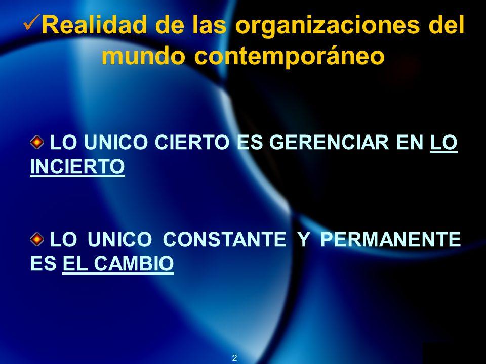 2 Realidad de las organizaciones del mundo contemporáneo LO UNICO CIERTO ES GERENCIAR EN LO INCIERTO LO UNICO CONSTANTE Y PERMANENTE ES EL CAMBIO
