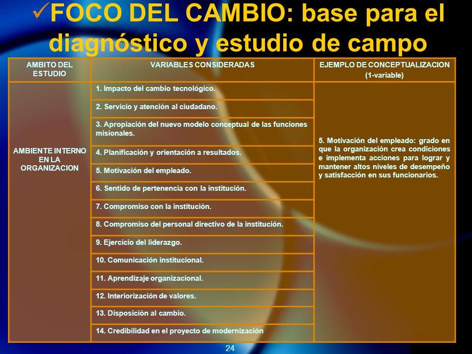 24 FOCO DEL CAMBIO: base para el diagnóstico y estudio de campo AMBITO DEL ESTUDIO VARIABLES CONSIDERADASEJEMPLO DE CONCEPTUALIZACION (1-variable) AMBIENTE INTERNO EN LA ORGANIZACION 1.