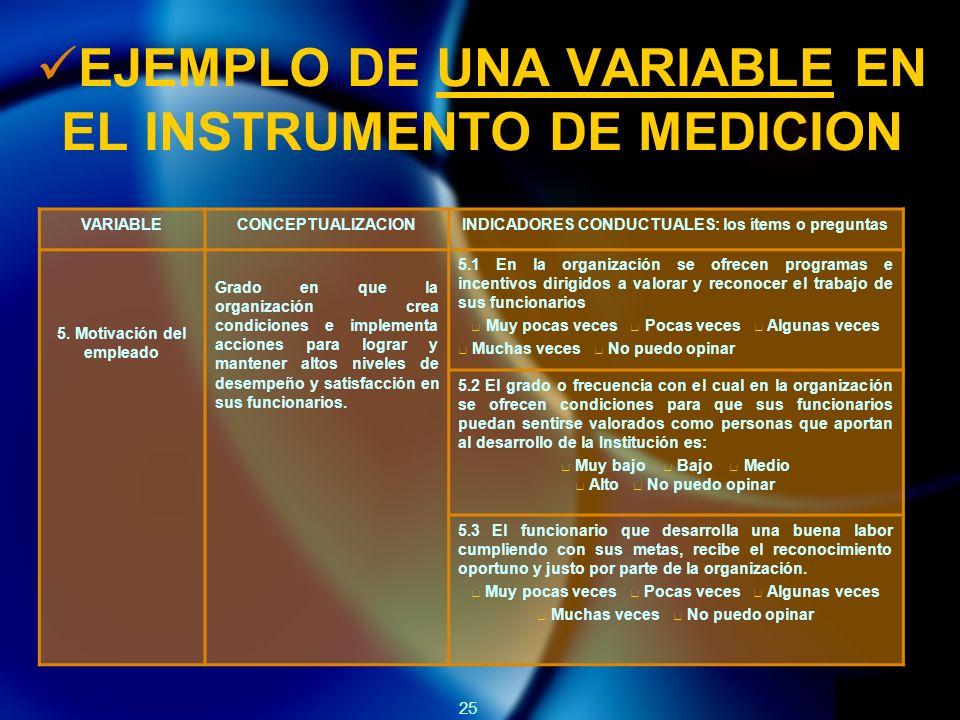25 EJEMPLO DE UNA VARIABLE EN EL INSTRUMENTO DE MEDICION VARIABLECONCEPTUALIZACIONINDICADORES CONDUCTUALES: los ítems o preguntas 5.