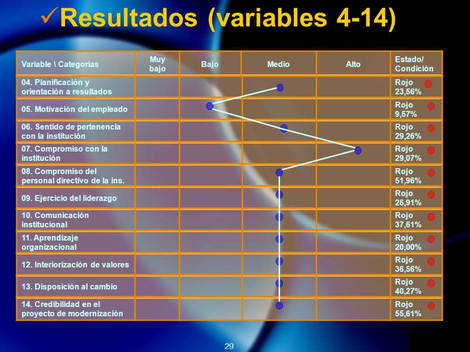 29 04.Planificación y orientación a resultados Rojo 23,56% 05.
