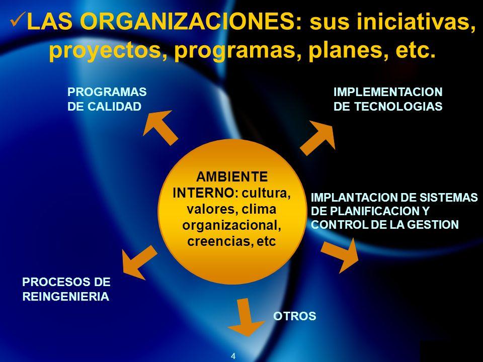 4 LAS ORGANIZACIONES: sus iniciativas, proyectos, programas, planes, etc. AMBIENTE INTERNO: cultura, valores, clima organizacional, creencias, etc PRO