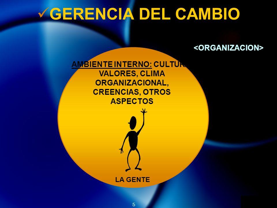 5 GERENCIA DEL CAMBIO LA GENTE AMBIENTE INTERNO: CULTURA, VALORES, CLIMA ORGANIZACIONAL, CREENCIAS, OTROS ASPECTOS
