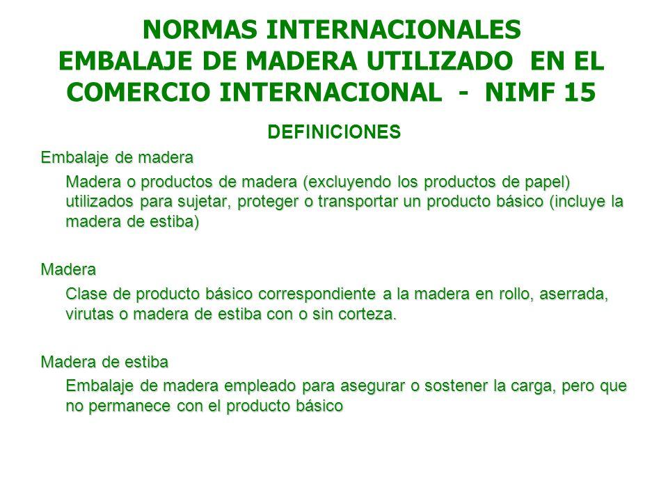 NORMAS INTERNACIONALES EMBALAJE DE MADERA UTILIZADO EN EL COMERCIO INTERNACIONAL - NIMF 15 DEFINICIONES Embalaje de madera Madera o productos de mader