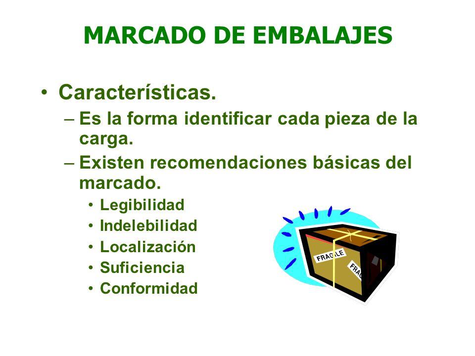 MARCADO DE EMBALAJES Características. –Es la forma identificar cada pieza de la carga. –Existen recomendaciones básicas del marcado. Legibilidad Indel